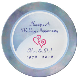 40th wedding anniversary Misty Blues Dinner Plate