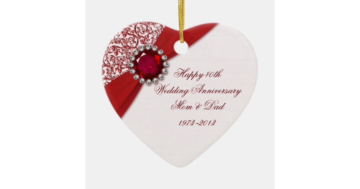 Wedding Gifts For Over 40 : 40th Wedding Anniversary Ornament Zazzle