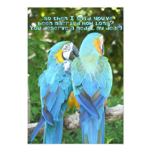 40th Wedding Anniversary Party Blue Parrot Humor 35 X 5 Invitation Card