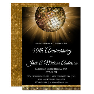 40th Wedding Anniversary Party Gold Disco Ball Invitation