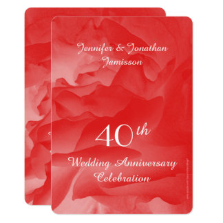 40th Wedding Anniversary Party Invitation, Rose Card