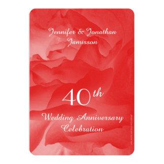 40th Wedding Anniversary Party Invitation, Rose Card