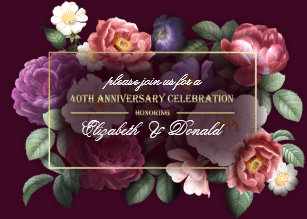 Vintage 40th Anniversary Gifts Invitations Zazzle