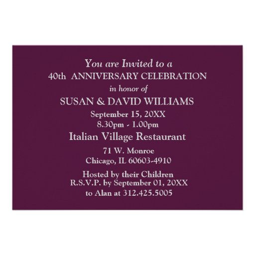 40th Wedding Anniversary Party Invitations (back side)