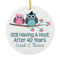 40th Wedding Anniversary Personalized Gift Ceramic Ornament