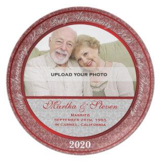 40th Wedding Anniversary Photo Plate at Zazzle