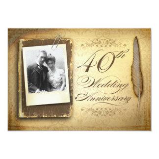 40th wedding anniversary photo vintage invitations