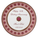 40th Wedding Anniversary Plate