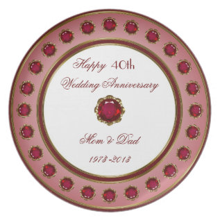 40th Wedding Anniversary Plate at Zazzle
