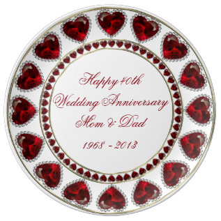 40th Wedding Anniversary Porcelain Plate at Zazzle