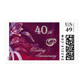 40th Wedding Anniversary Postage Stamps