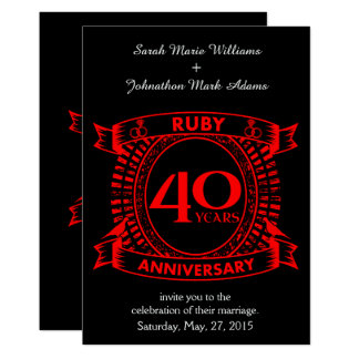 40th wedding anniversary ruby crest card