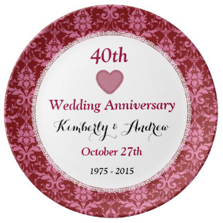 40th Wedding Anniversary Ruby Red Damask W40A Plate
