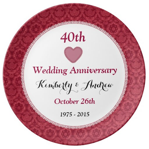 40th Wedding Anniversary Ruby Red Damask W40C Porcelain Plates