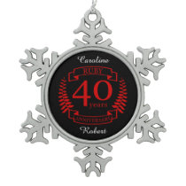 40th Wedding ANNIVERSARY RUBY Snowflake Pewter Christmas Ornament