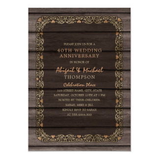 40th Wedding Anniversary Rustic Wood Country Party Invitation