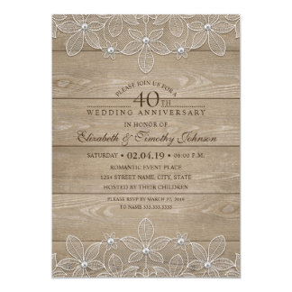40th Wedding Anniversary Rustic Wood Vintage Lace Invitation
