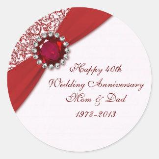 40th Wedding Anniversary Sticker Round Sticker