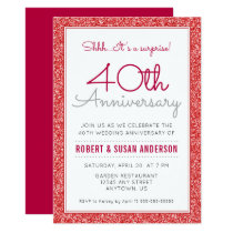 40th Wedding Anniversary Surprise Faux Red Glitter Card