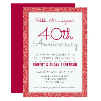 40th Wedding Anniversary Surprise Faux Red Glitter Invitation