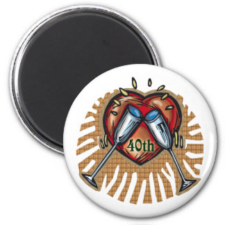 40th wedding anniversary t 2 inch round magnet