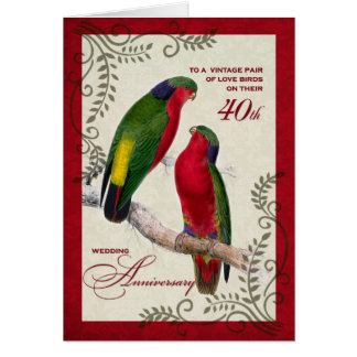 40th Wedding Anniversary Vintage Lorikeet Parrots Card