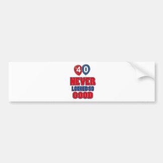 40th year old birthday designs bumper stickers