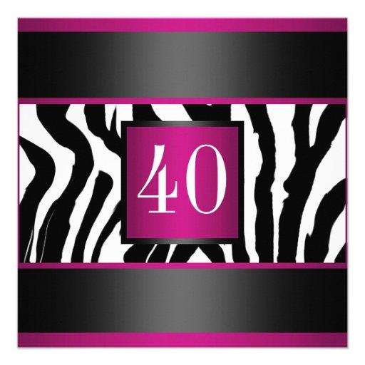 40th Zebra Birthday party Custom Invites