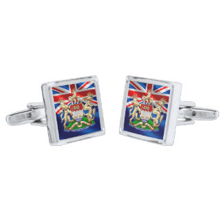 [410] Hong Kong Historical 1959-1997 Coat of Arms Silver Cufflinks