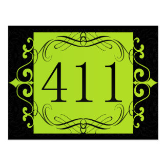 411 Area Code Post Cards