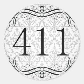 411 Area Code Round Sticker
