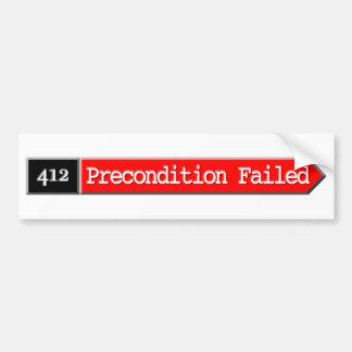 412 - Condición previa fallada Pegatina De Parachoque