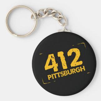 412 Pittsburgh Basic Round Button Keychain