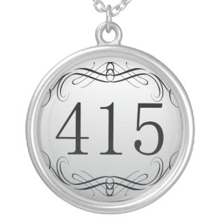 415 Area Code Silver Plated Necklace