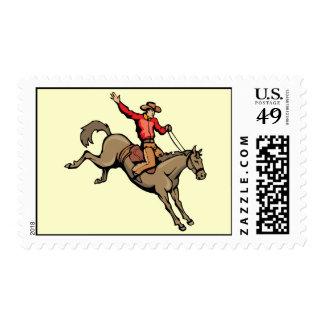 4162007-133 Cartoon Cowboys Horses horseback-ridin Postage