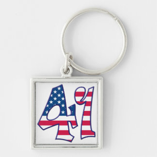 41 Age USA Silver-Colored Square Keychain