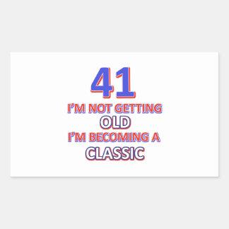 41 birthday designs rectangular sticker