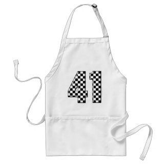 41 checkered number adult apron