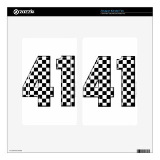 41 checkered number decals for kindle fire