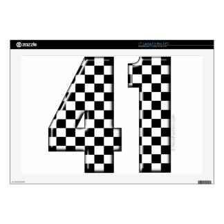 41 checkered number skin for laptop