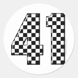 41 checkered number round sticker