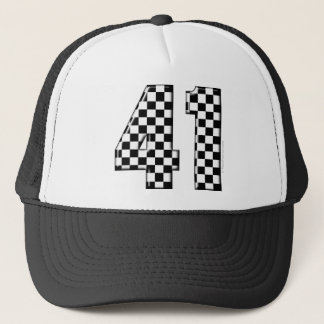 41 checkered number trucker hat