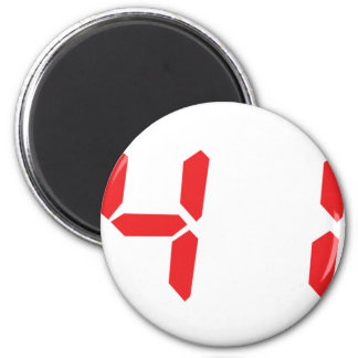 41 fourty-one red alarm clock digital number 2 inch round magnet