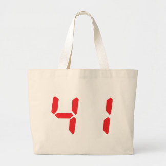 41 fourty-one red alarm clock digital number canvas bag