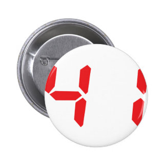 41 fourty-one red alarm clock digital number pinback buttons