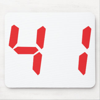 41 fourty-one red alarm clock digital number mouse pad