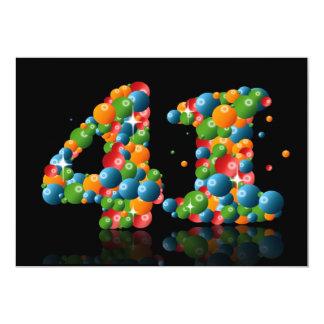 """41.o Fiesta de cumpleaños, con las burbujas y las Invitación 5"""" X 7"""""""