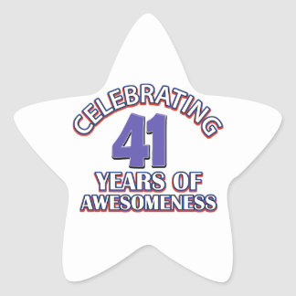 41 year old birthday designs and gifts star sticker