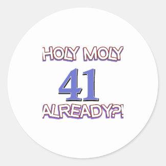 41 year old designs classic round sticker