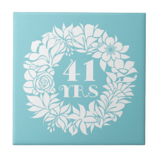 41st Anniversary White Floral Wreath Keepsake Gift Ceramic Tile